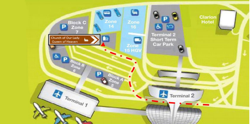 Dublin airport church driving directions map