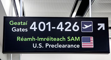 Travelling to USA Preclearance Gates Sign